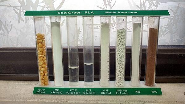 옥수수로부터 PLA 칩(Chip)이 생산돼 분해되니까지의 과정을 설명하고 있는 샘플 모습. (사진=전수영 기자)